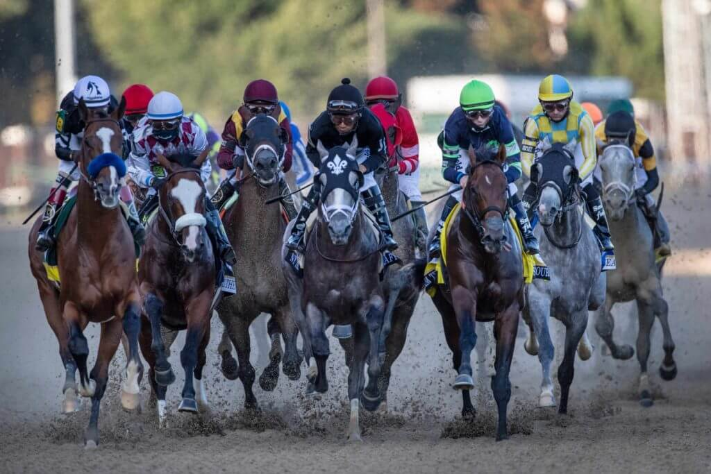 Kentucky Derby 2020 runners come up the straight at Churchill Downs