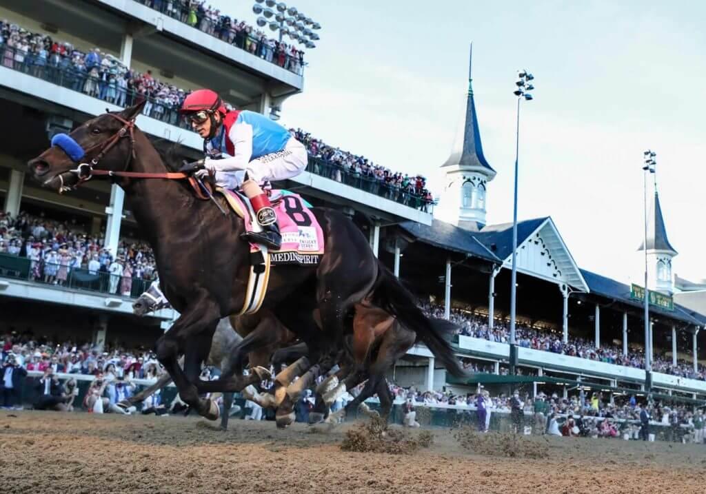 John Velazquez, aboard Medina Spirit, wins the Kentucky Derby.